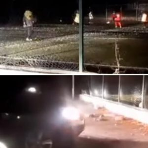 """Пълен абсурд в Перник! Децата на """"Металург"""" тренират на тъмно в двора на училище, осветени от колите на родителите си"""